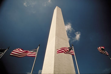 The Washington Monument with Flags